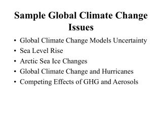 Sample Global Climate Change Issues