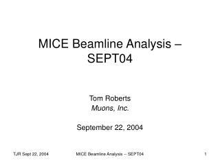 MICE Beamline Analysis – SEPT04