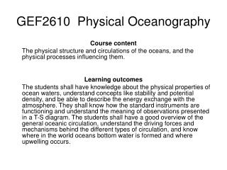 GEF2610  Physical Oceanography