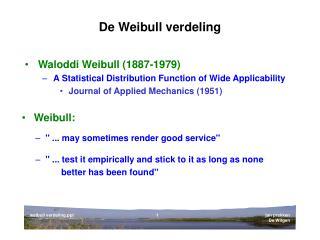 De Weibull verdeling