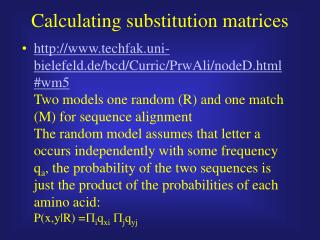 Calculating substitution matrices