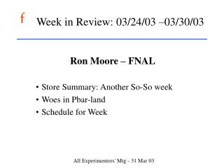 Week in Review: 03/24/03 –03/30/03