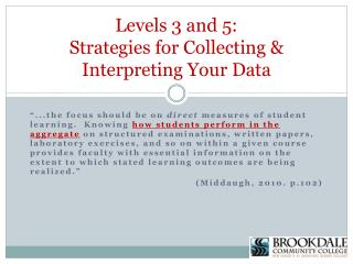 Levels 3 and 5:  Strategies for Collecting & Interpreting Your Data