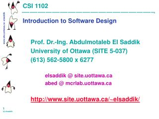 CSI 1102 Introduction to Software Design