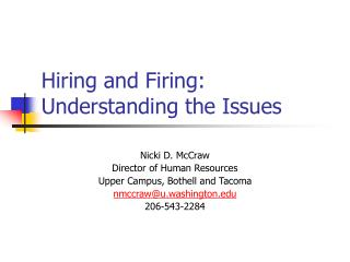 Hiring and Firing:  Understanding the Issues