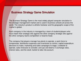 Business Strategy Game Simulation