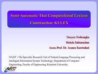 Semi-Automatic Thai Computational Lexicon Construction: KULEX