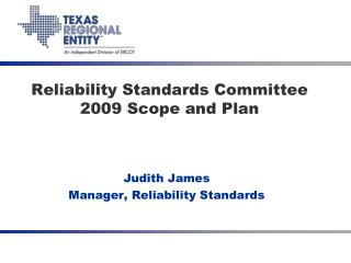 Reliability Standards Committee 2009 Scope and Plan