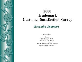 2000 Trademark Customer Satisfaction Survey