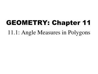 GEOMETRY: Chapter  11