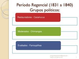 Período Regencial (1831 a 1840) Grupos políticos: