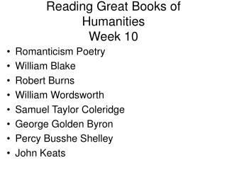 Reading Great Books of Humanities Week 10