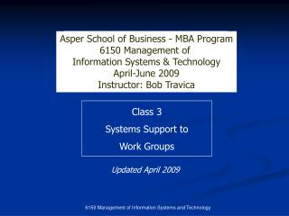 6150 Management of Information Systems and Technology