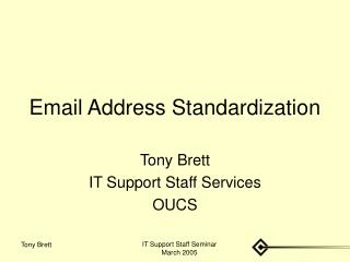 Email Address Standardization