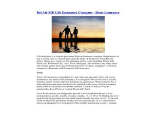 Bel Air MD Life Insurance Company - Deaninsurance