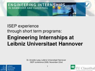 Engineering Internships at Leibniz Universitaet Hannover