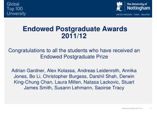 Endowed Postgraduate Awards 2011/12