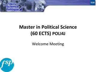 Master in Political Science 60 ECTS POLI4J
