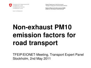 Non-exhaust PM10 emission factors for road transport