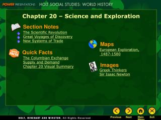Chapter 20 – Science and Exploration