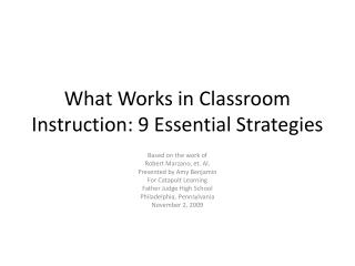 What Works in Classroom Instruction: 9 Essential Strategies