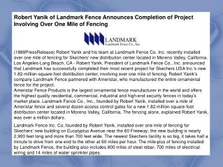 Robert Yanik of Landmark Fence Announces Completion of Proje