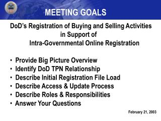 DoD's Registration of Buying and Selling Activities                                 in Support of