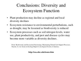 Conclusions: Diversity and Ecosystem Function