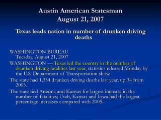 Austin American Statesman August 21, 2007