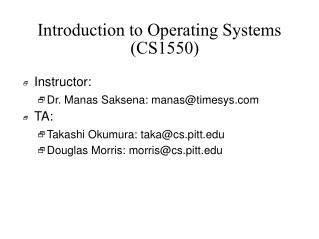 Introduction to Operating Systems (CS1550)