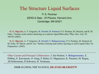 The Structure Liquid Surfaces