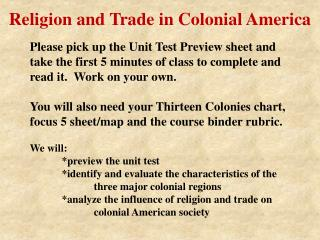 Religion and Trade in Colonial America