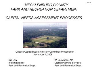 MECKLENBURG COUNTY      PARK AND RECREATION DEPARTMENT