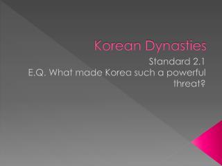 Korean Dynasties