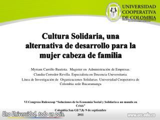 Cultura Solidaria, una alternativa de desarrollo para la mujer cabeza de familia