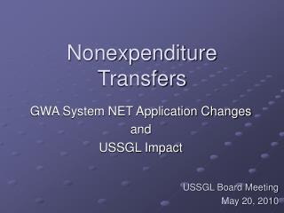 Nonexpenditure Transfers