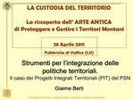 Strumenti per l integrazione delle politiche territoriali.  Il caso dei Progetti Integrati Territoriali PIT del PSN