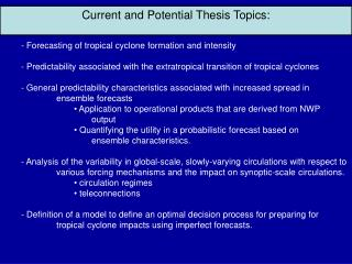 Current and Potential Thesis Topics: