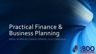 Practical Finance & Business Planning