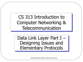 CS 313 Introduction to  Computer Networking  Telecommunication