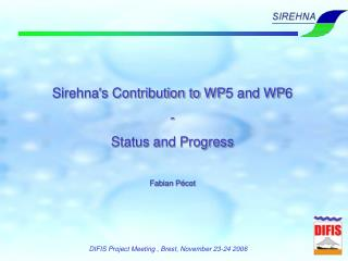 Sirehna's Contribution to WP5 and WP6 - Status and Progress Fabian Pécot