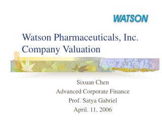 Watson Pharmaceuticals, Inc.  Company Valuation