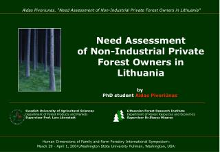 Need Assessment  of Non-Industrial Private Forest Owners in Lithuania