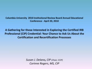 Council for Certification of IRB Professionals (CCIP)