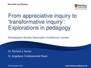From appreciative inquiry to �transformative inquiry�: Explorations in pedagogy