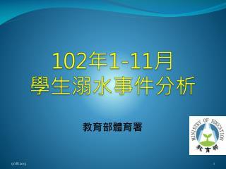 102 年 1-11 月 學生溺水事件分析
