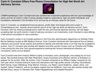 Carin H. Constant Offers Free Phone Consultation for High Ne