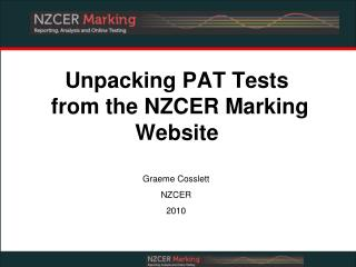 Unpacking PAT Tests  from the NZCER Marking Website