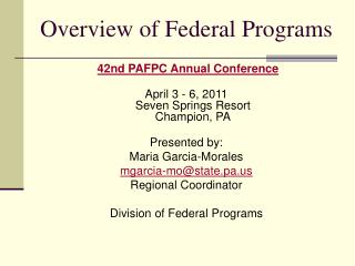 Overview of Federal Programs