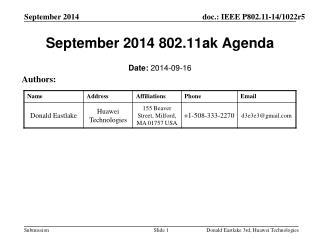 September 2014 802.11ak Agenda